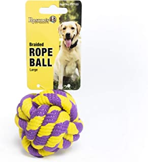 Roscoe's Pet Products Braided Rope Ball Toy for Dogs and Other Small Pets (Large (2.75-inch))