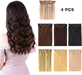 """14"""" Clip in Hair Extensions Remy Human Hair for Women - Silky Straight Human Hair Clip in Extensions 50grams 4pieces Medium Brown #4 Color"""