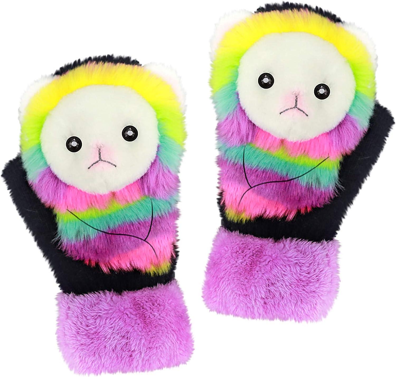Cartoon Cute Animal Gloves Autumn And Winter Warm Mittens Outdoor Plush Gloves
