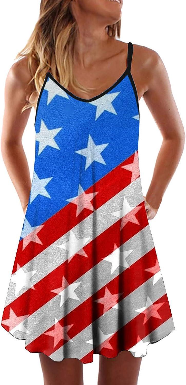 BuyO Womens Stripe Memphis Mall Star Print Summer Slee Day Fashion Dress Independence