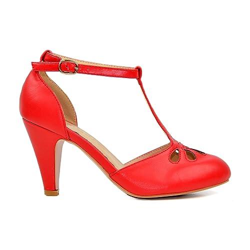 c2c252323d1 Chase   Chloe New Kimmy-36 Women s Teardrop Cut Out T-Strap Mid Heel