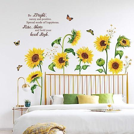 decalmile Pegatinas de Pared Girasol Mariposa Vinilos Decorativos Flores de Jardín Adhesivos Pared Habitación Infantiles Dormitorio Salón