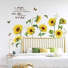 decalmile Adesivi Murali Girasole Adesivi da Parete Farfalla Fiore Giardino Decorazione Murale Camerette Bambini Soggiorno...