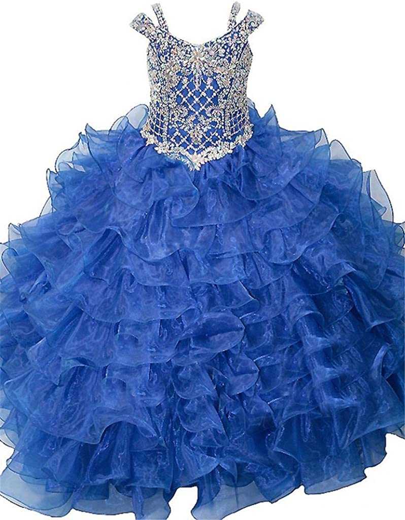 Dexin Girls' Crystal Princess Ruffled Ball Gowns Kids Pageant Dresses