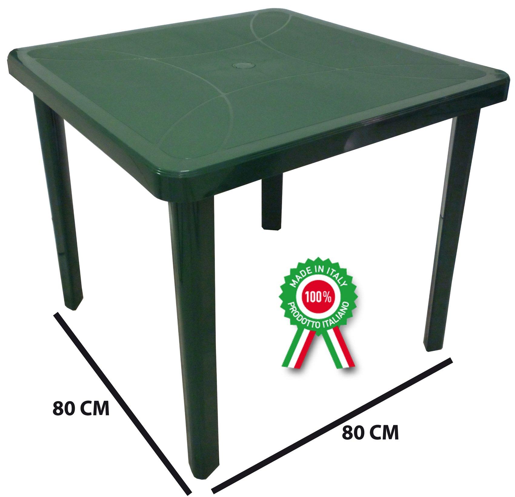Mesa Mesa cuadrado 80 x 80 Neptune de dura resina de plástico verde con agujero para sombrilla para exterior Casa balcón Bar Sagra de jardín: Amazon.es: Jardín