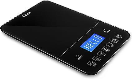 Ozeri Touch III 22 libras (10 kg) báscula de cocina digital con contador de calorías, en Vidrio templado color negro