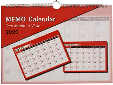 2019-2020 one Month to View memo Calendar Planner A4 Approx Size, mid-Year Spiral Organiser by Arpan