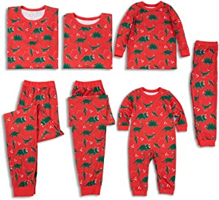 Family Matching Christmas Pajamas Set All Over Dinosaur Print Top and Pants PJS Sleepwear for Kids Adult One-Piece: 12-18 Months