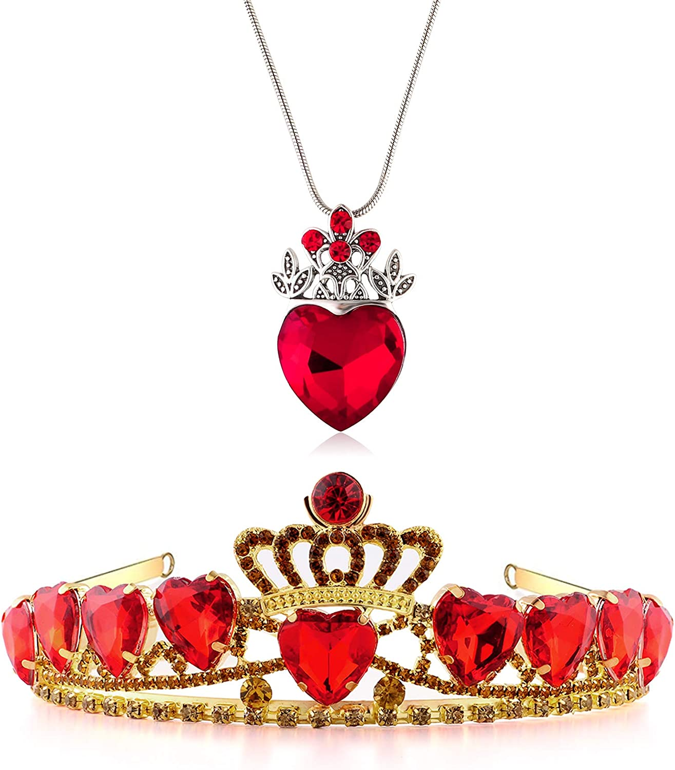 Evie Red Heart Regular dealer Tiara Max 59% OFF and Qu Necklace Set Jewelry Crown