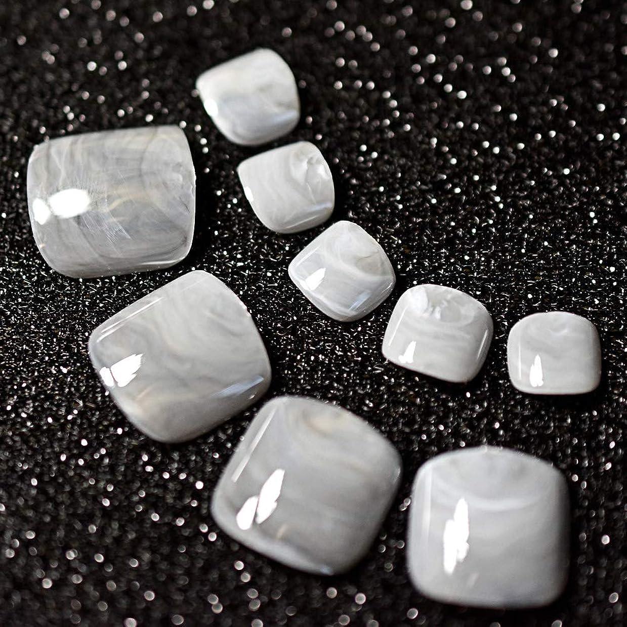 受け継ぐ導体現象XUTXZKA 24ピースグレー大理石の足の爪偽の人工足の爪足の化粧の装飾のためのヒント