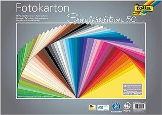 Folia- Lot Feuilles de Carton photo-50 x 70 cm-300 g/m² -50 Couleurs Assorties-Base idéale pour de Nombreuses idées de Bri...