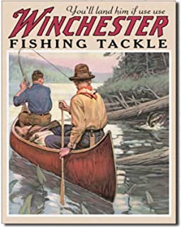 Ufcell 8x12 Vintage Retro Metal Tin Sign Winchester Fish and Tackle Hunting Fishing Home Home Decor Wall
