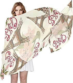 AUUXVA Fashion Scarf Floral Flower Paris Eiffel Tower Pattern Long Lightweight Sunscreen Silk Scarf Shawl Wrap Muffler Neckerchief for Women Men