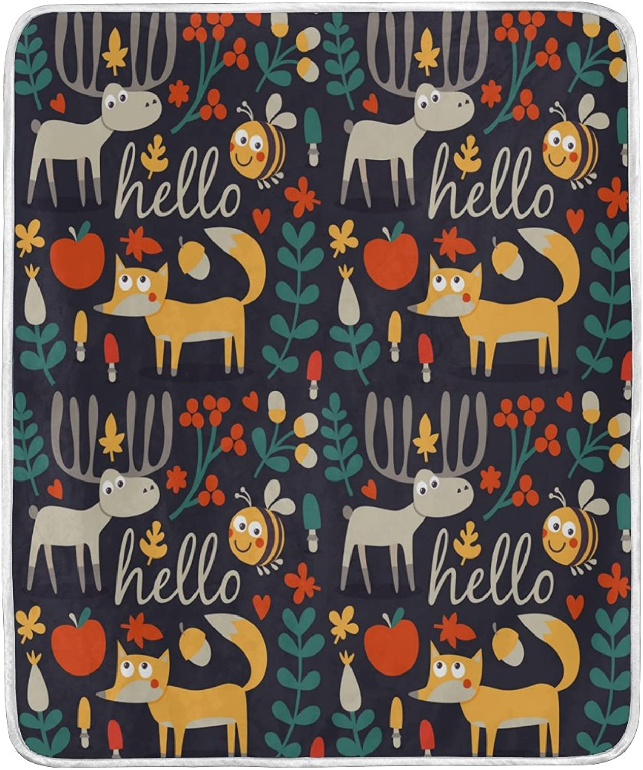 ALAZA Home Decor Hello Deer Fox Bee Floral Print Blanket Soft Warm Blankets for Bed Couch Sofa Lightweight Travelling Camping 60 x 50 inch Throw Size for Kids Boys Women