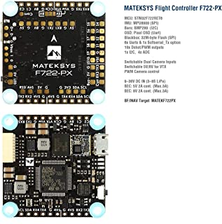 Matek F722-PX F7 Flight Controller F722 FC with Graphical Pixel OSD Blackbox BEC 5V/8V, Switchable Dual Camera Inputs for INAV Airplane Fixed Wing Sailplane FPV Racing Drone Quad Quadcopter Frame