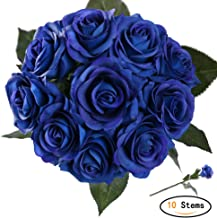 StarLifey Artificial Flowers Real Touch Blue Rose Wedding Bouquet Silk Roses Posy Valentine's Day/Wedding/Home Decorations Pack of 10