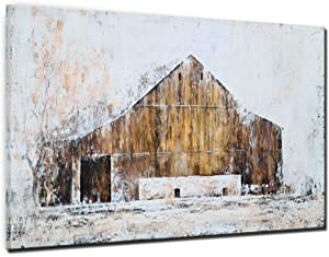 YHSKY ARTS Farmhouse Canvas Wall Art Hand Painted Barn Pictures Decor Rustic Artwork Modern Aesthetic Painting for Living Room Bedroom Bathroom