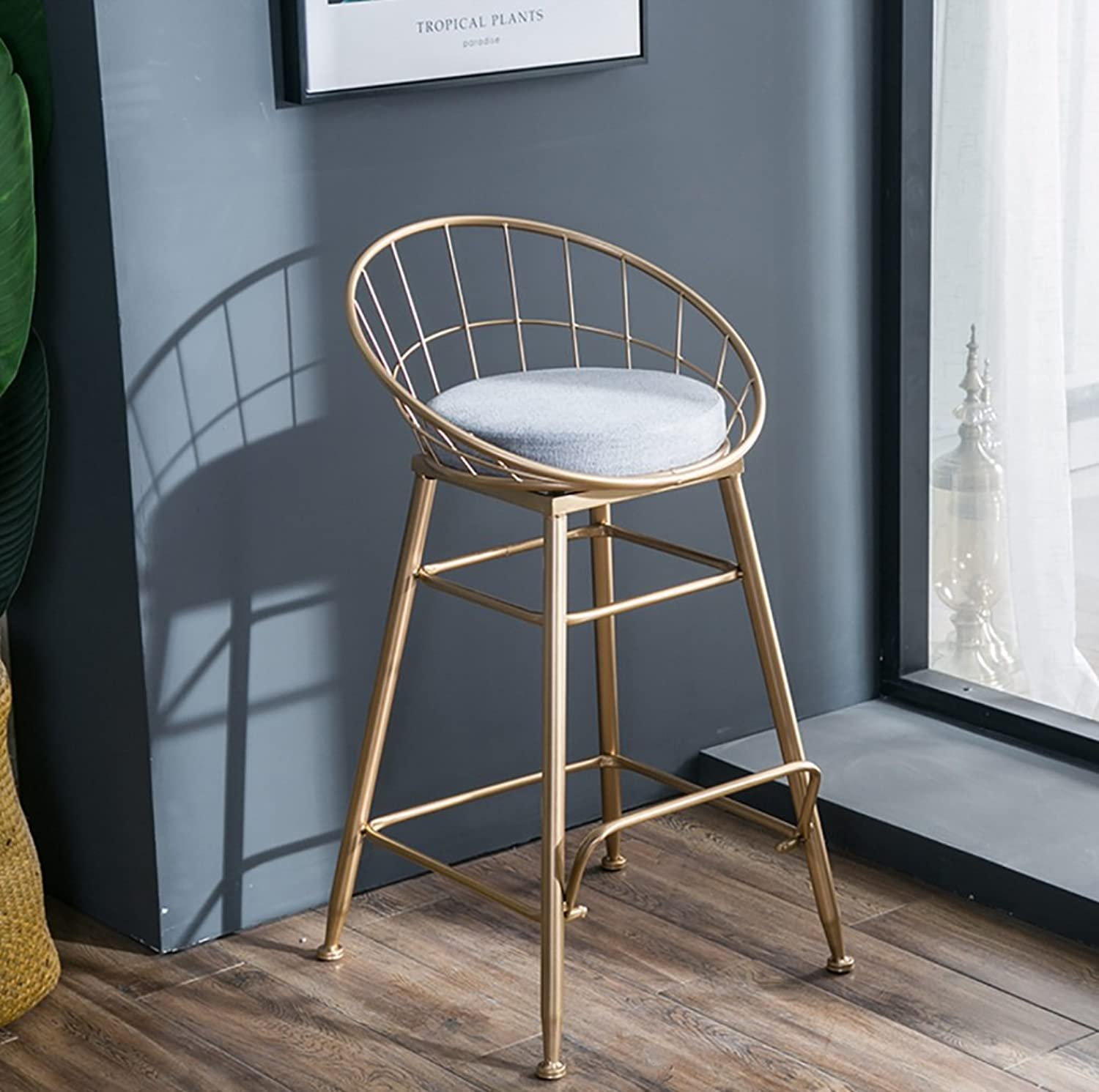 High Stool Nordic Metal Bar Stools, Modern gold Dining Room Home High Stool,Creative Thick Cushion Iron Bar Cafe Chair Sun Lounge Chair,Strong Bearing Capacity Boutique (Size   47  47  85cm)