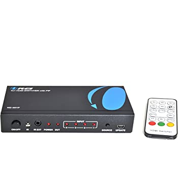 4 Port 4K HDMI Switch, by OREI High Speed Switcher with IR Remote - Supports 3D 1080P/4K@30Hz with Picture in Picture - (4 Input, 1 Output)