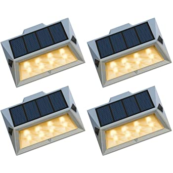 6LED Solar Wall Fence Door Shed Step Light Bright Garden Outdoor Waterproof Lamp