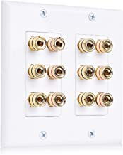 Cable Matters Double Gang Speaker Wall Plate (Banana Plug Wall Plate) with Binding Post for 6 Speakers in White