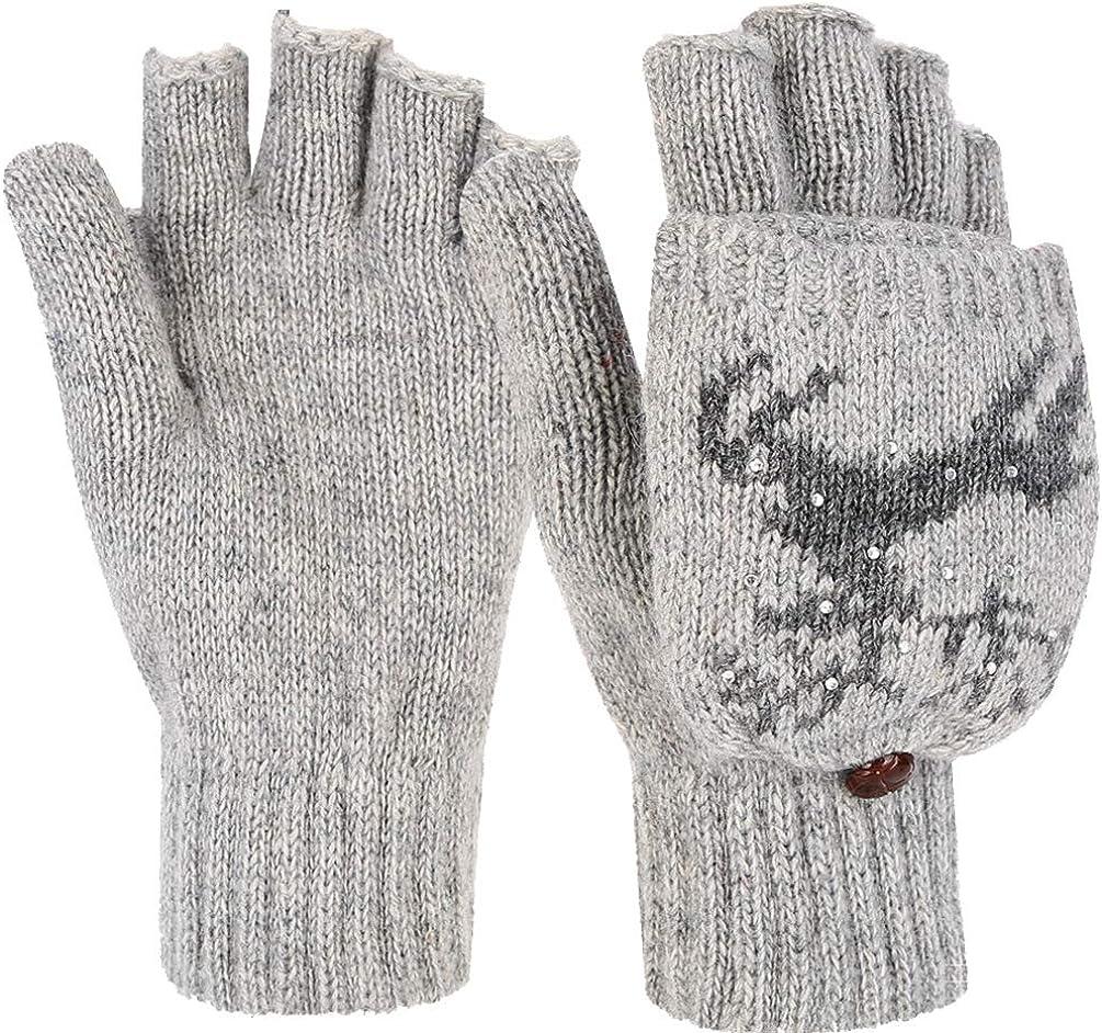 Novawo Women Winter Warm Wool Blend Knitted Convertible Gloves with Snowflake Pattern
