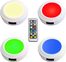 HONWELL Push Light RGB Lights Puck Lights with Remote Controlled Battery Operated Lights Wireless Touch Lights Tap Light Dimmable Closet Lights Under Cabinet Counter Lights Stick on Lights (4 Color)