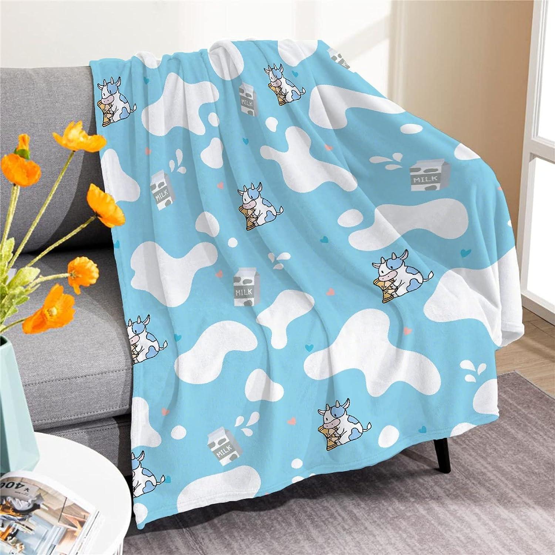 Padumuttara Cute Sky Blue Milk Cow Throw Ranking TOP2 L Print Phoenix Mall Blanket Flannel
