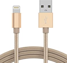 iPhone Charger Lightning Cable 6ft - by TalkWorks   Braided Heavy Duty MFI Certified Apple Charger iPhone Cord for iPhone 11, 11 Pro/Max, XR, XS/Max, X, 8, 7, 6, 5, SE, iPad - Gold
