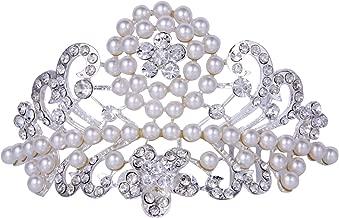 ROFIFY Women Girls Vintage Pearl Crystal Silver Plated Crown with Comb Princess Wedding Bridal Flower Tiara Headband FJ07
