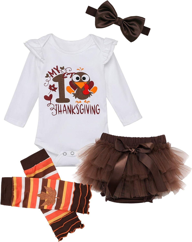 Newborn Baby Girl Clothes My 1st Thanksgiving Romper + Shorts + Legging + Headband 4Pcs Outfits Set