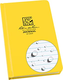 "Rite in the Rain Weatherproof Hard Cover Notebook, 4.75"" x 7.5"", Yellow Cover, Journal Pattern (No. 390F)"