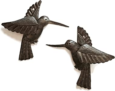 Hummingbirds, Nature Inspired Haitian Recycled Metal Drum Wall Hanging Art, Decorative Novelty Gift, Set of 2, 6 x 5.5 Inches