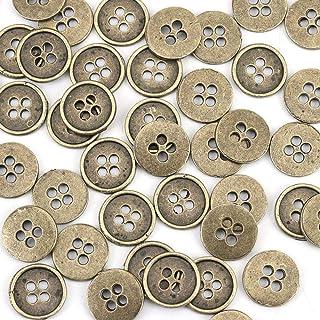 أزرار معدنية من سبيكة الزنك المعدنية الخياطة زر معدني دائري عتيق 4 فتحات خالية من الكادميوم 13 مم (4/8 بوصة) قطر ، 9 قطع