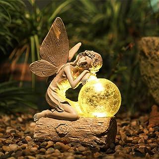 SHAREWIN Garden Angel Solar Light Resin Outdoor Decor for Fall Winter Garden Decor with one Solar Light, Solar Statue for ...