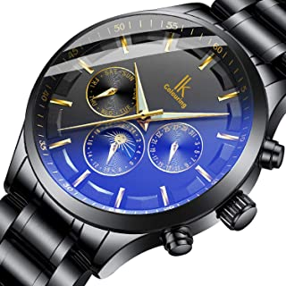 Bestn Men's Mechanical Watch Automatic Moon Creative Waterproof Calendar Weekly,Roman Numeral Business Casual Stainless Steel Strap