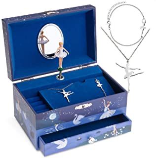Jewelkeeper Ballerina Music Box & Little Girls Jewelry Set - 3 Ballerina Gifts for Girls