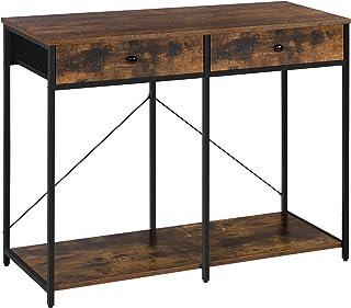 SONGMICS Table Console, Table d'Entrée, avec Tiroirs en Tissu et Étagère de Rangement, Bout de Canapé, Style Industriel, p...