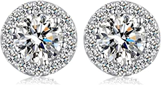 Han han Platinum-plated Halo Stud Earrings,S925 Sterling Silver Round Cut Cubic Zirconia Halo Stud Earrings,10mm - Nickel Free,Sterling Silver Hypoallergenic Stud Earrings,1 Pair