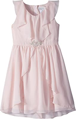 Us Angels Ruffle Front Chiffon Dress w/ Brooch (Big Kids)