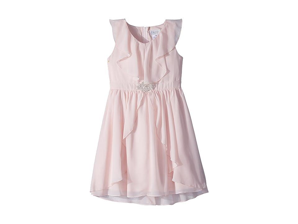 Us Angels Ruffle Front Chiffon Dress w/ Brooch (Big Kids) (Blush) Girl