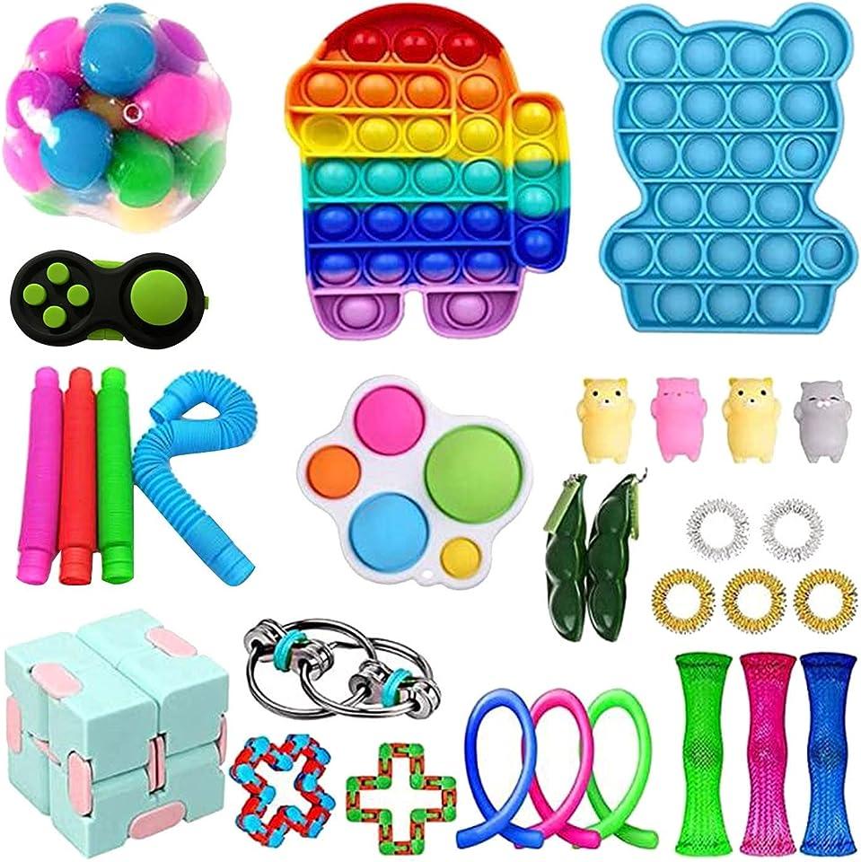Fidget Toys Cheap Push Bubble Fidget Sensory Toy, Simple Fidget Dimple Toys Pack Fidgets for Kids Adults, Fidget Spinners Toy Set