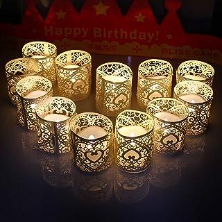 キャンドルライト MIYOLE ledキャンドル 12個セット 電池ろうそく 無煙蝋燭 ティーライトキャンドル 揺らぐ炎 電子ロウソク クリスマス パーティー 結婚式 部屋 装飾用 暖白 ウォームホワイト