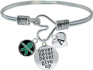 Custom Tourettes Syndrome Awareness Never Give Up Bracelet Choose Initial