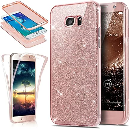 Funda Compatible con Samsung Galaxy S7 Edge 360 Grados Integral Ambas Carcasa,Funda 360 Full Body Completa Cas + Glitter Brillante Paillettes 3 en 1 Funda Ultra Delgado Doble Silicona Gel Funda,Rosa