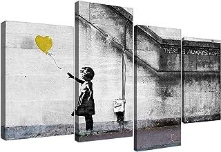 Banksy de niña con globo de grafiti de Lienzo grandes de color amarillo Multi 4piezas–130cm de ancho–4221–Wallfillers®