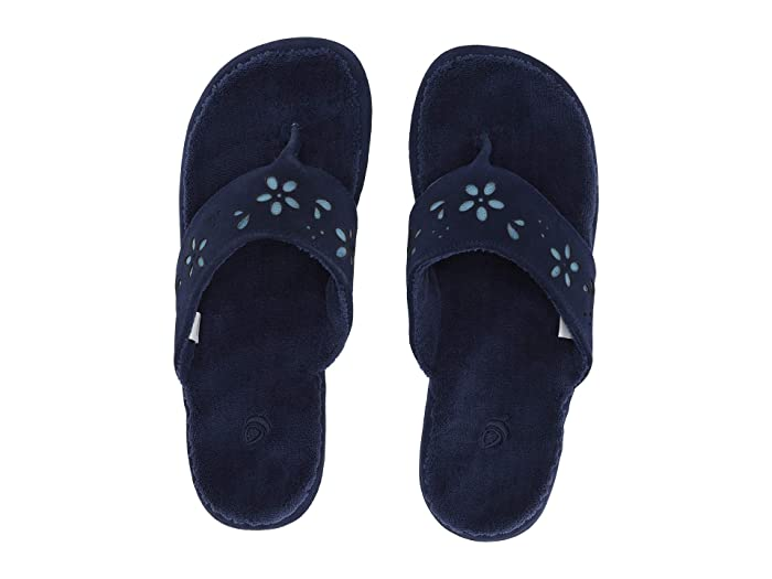 Acorn  Flora Suede Spa Thong (Navy Blue Flora) Womens Sandals