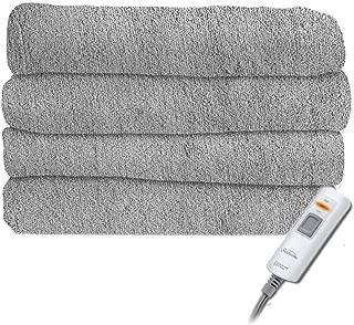 Sunbeam Premium-Soft Velvet Plush Electric Heated Throw Blanket, Machine Washable Dryer Safe, Light Silver Grey (Steel Grey)