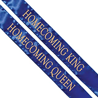 Homecoming King and Queen Sashes, 2 Pack Blue Sash with Gold Imprint 72 Inches x 3 Inches