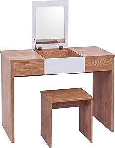 WOLTU MB6048eiw Tavolo da Trucco Toeletta Specchiera con Specchio Sgabello Organizer per Cosmetici Scrivania in Legno